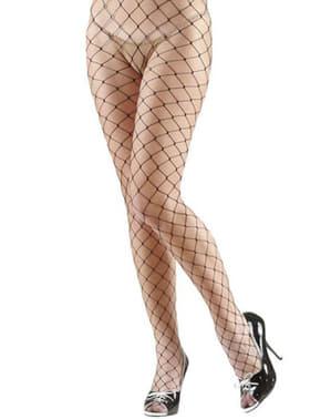 Strumpfhose mit Diamantnetz schwarz für kostüm