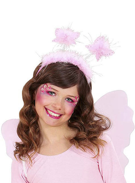 Diadema rosa mariposa