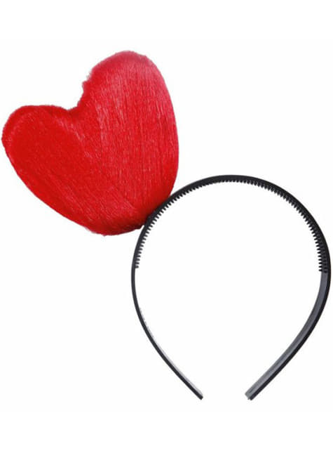 Diadema de corazón hilado rojo