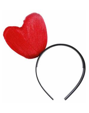 Diadeem met rood hart van garen