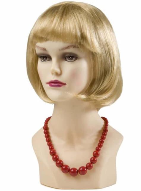 Perlen Halskette asymmetrisch rot