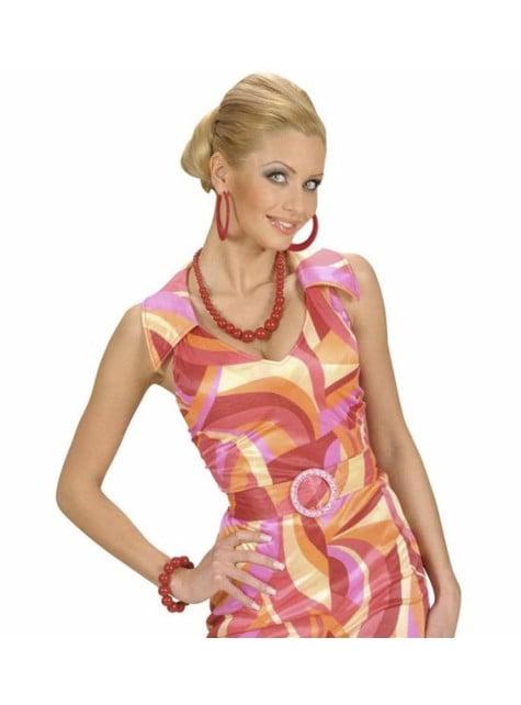 Collar de perlas asimétrico rojo - para tu disfraz