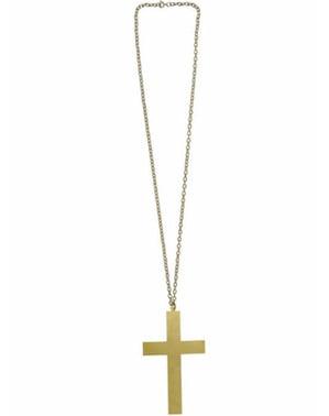 Колие със златист кръст