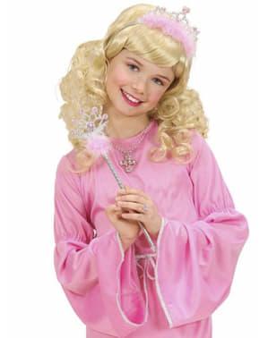 Tiara e cetro de princesa cor-de-rosa