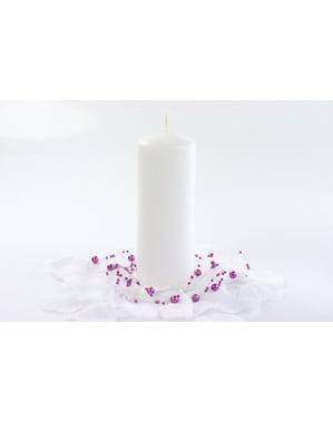 6 सफेद स्तंभ मोमबत्तियों का सेट, 15 सेमी