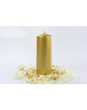 6 gouden pilaar kaarsen, 15 cm