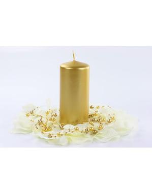 6 स्वर्ण स्तंभ मोमबत्तियों का सेट, 12 सेमी