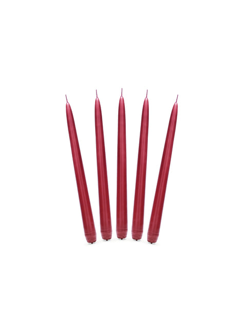 10 bougies rouges mat de 24 cm