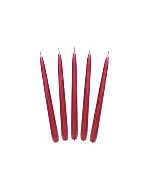 10 mat rode kaarsen, 24 cm