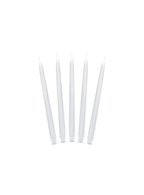 10 bougies blanches mat de 24 cm