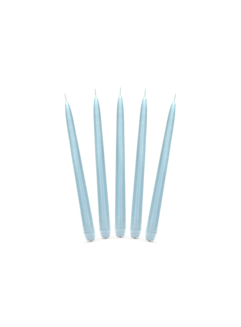 10 bougies bleu ciel mat de 24 cm