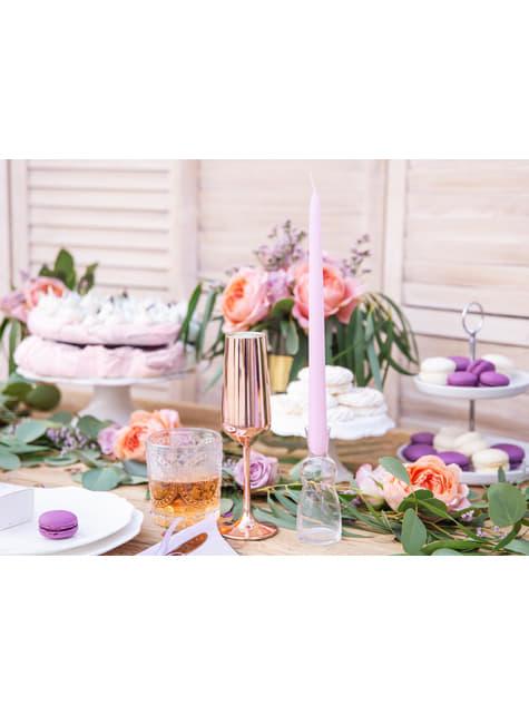 10 bougies lilas mat de 24 cm