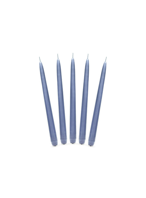 10 velas azul oscuro mate (24 cm)