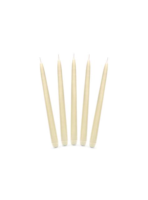 10 bougies beige mat de 24 cm