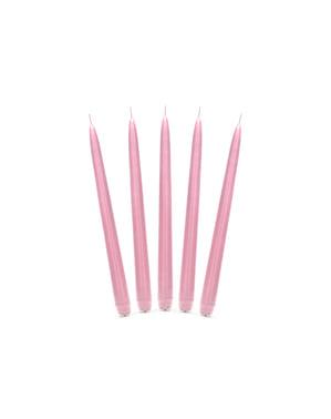 Zestaw 10 matowa pastelowo różowa wysoka świeczka 24cm
