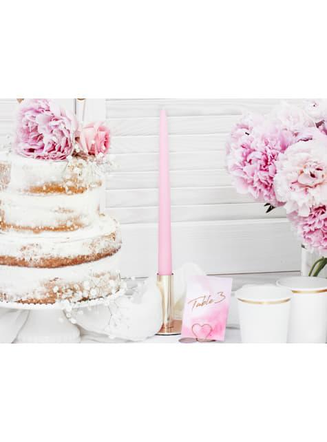 10 velas rosa pastel mate (24 cm)