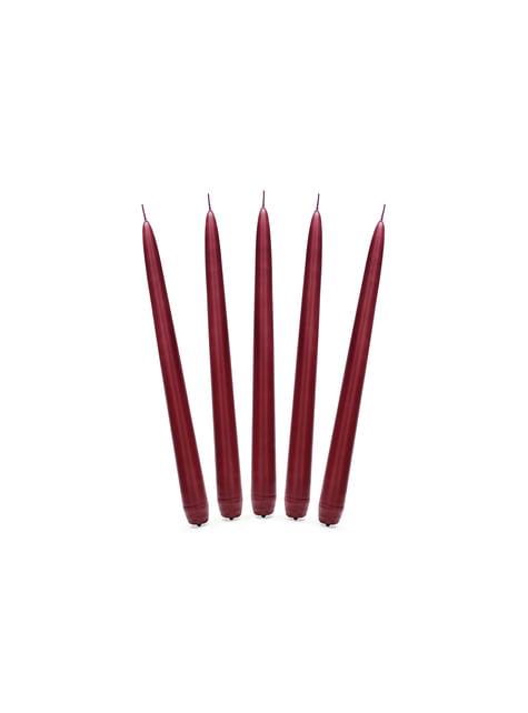 10 bougies rouges grenats mat de 24 cm