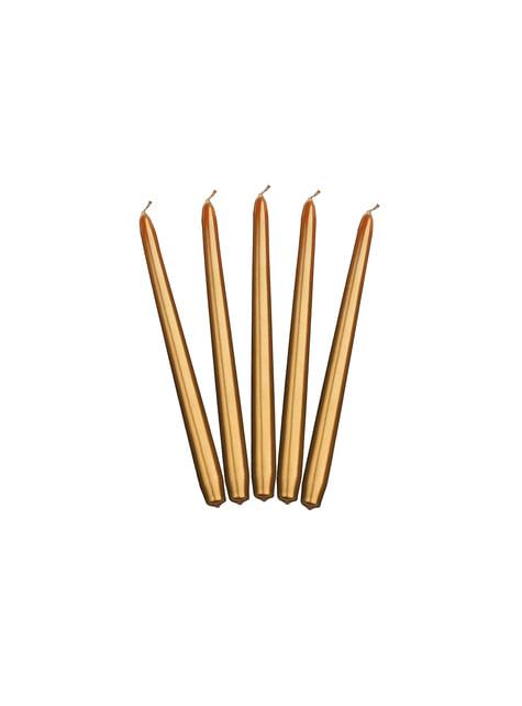 Set de 10 velas doradas de 24 cm