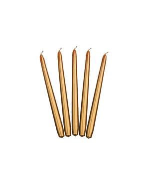 10 mat gouden kaarsen, 24 cm