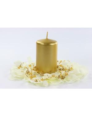 6 स्वर्ण स्तंभ मोमबत्तियों का सेट, 10 सेमी