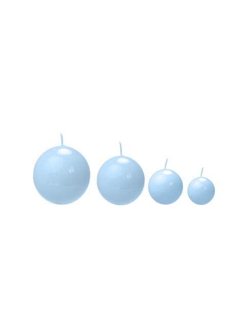 10 velas esféricas azules cielo (6 cm)
