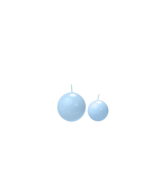 10 bougies rondes bleues ciel de 6 cm