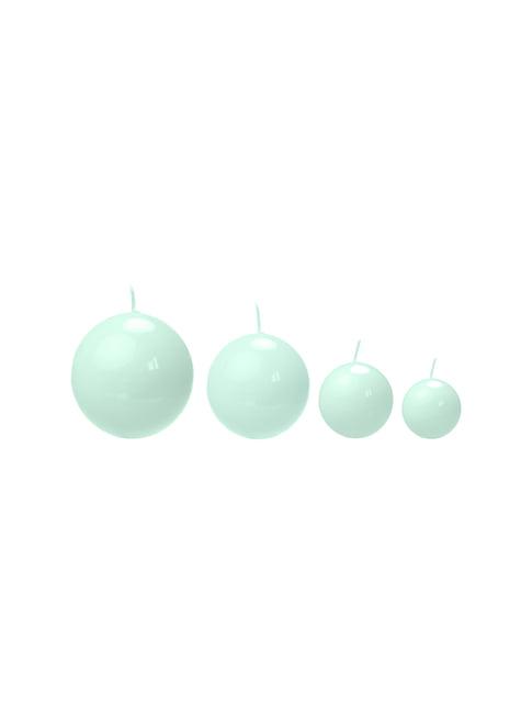 Zestaw 10 miętowo-zielona świeczka kula 6cm