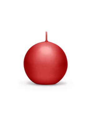Zestaw 10 czerwona świeczka kula 6cm