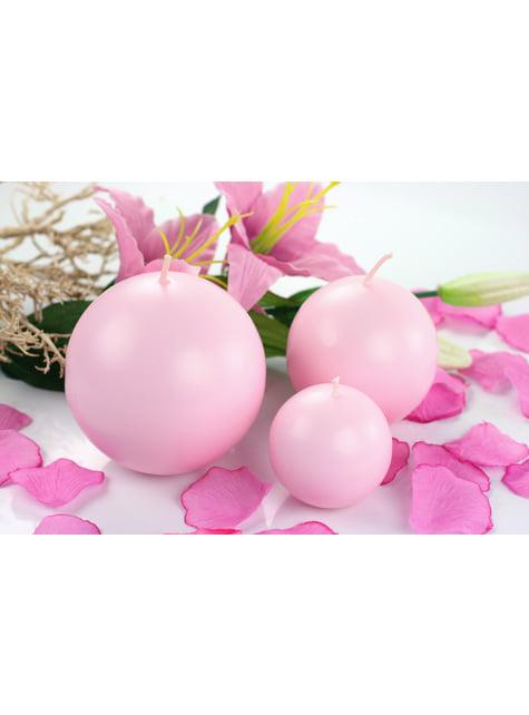 10 bougies rondes roses clair de 6 cm