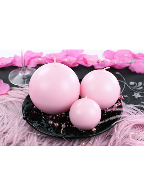 10 velas esféricas rosas claro (6 cm) - para niños y adultos