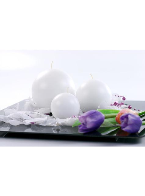 6 bougies rondes blanches de 8 cm