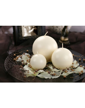 Set of 6 Ivory Ball Candles, 8cm