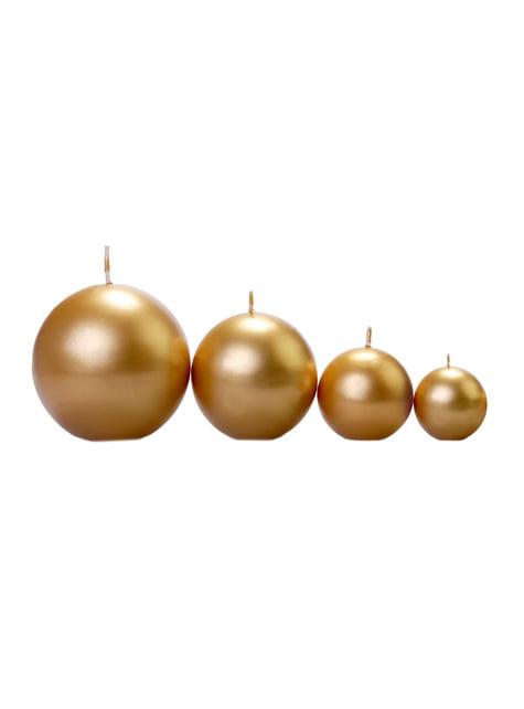 Set de 20 velas esféricas doradas de 4,5 cm