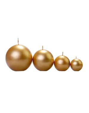Set 20 zlatých kulatých svíček,  4,5cm