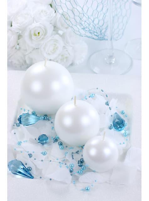 20 bougies rondes couleur perle de 4,5 cm