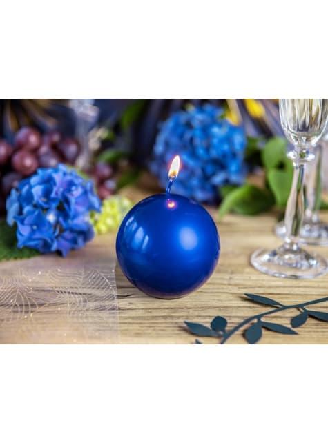 10 bougies rondes bleues marine de 6 cm