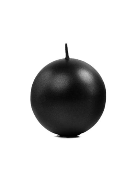 6 bougies rondes noires de 8 cm