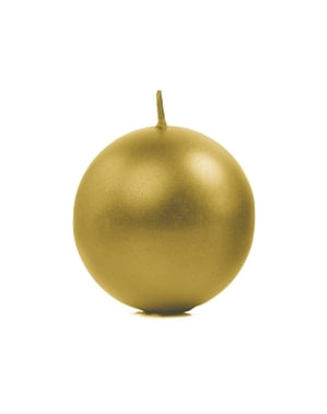 Set of 6 Gold Ball Candles, 8cm