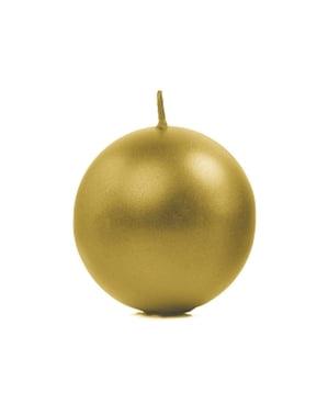 Sett med 6 Gullball Stearinlys, 8cm