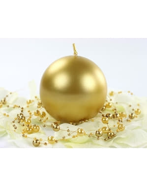 6 Gold Ball Candles (8 cm)
