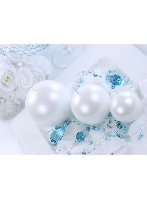 6 bougies rondes couleur perle de 8 cm