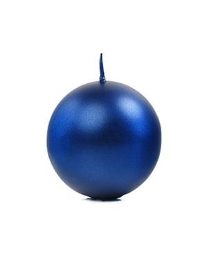 6 navy blauwe bol kaarsen, 8cm