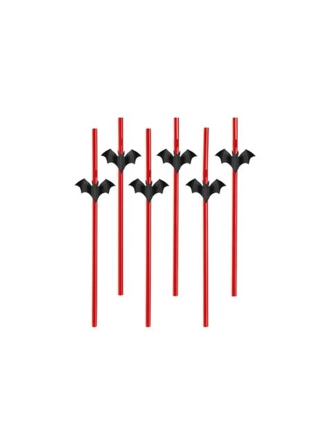 6 pajitas rojas con figuritas de murciélagos - Halloween