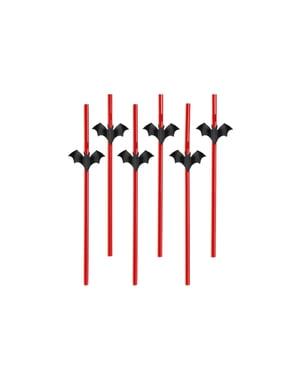 6 palhas vermelhas com figuras de morcegos - Halloween