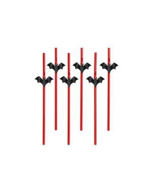 6 papperssugrör röda med fladdermössfigurer - Halloween