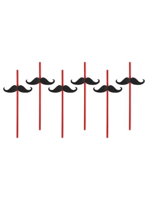 6 pailles rouges avec moustache - Hen Night