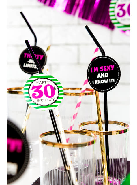 30th Strohhalm Set 6-teilig - Milestone Birthday
