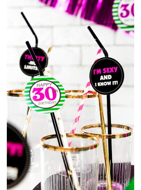 6 pajitas 30th - Milestone Birthday - para tus fiestas