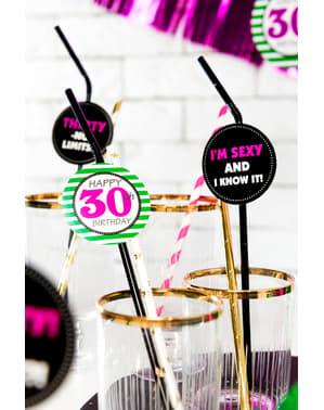6 30th Birthday Drinking Straws - Milestone Birthday