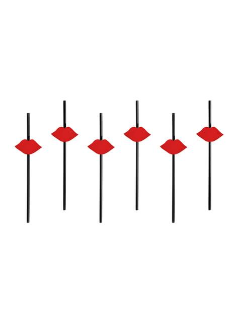 6 pailles noires avec lèvres rouges